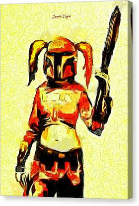 Harley Quinn Trooper  - Van Gogh Style -  - Da Canvas Print by Leonardo Digenio