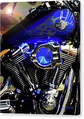 Harleys Twins Canvas Print by DigiArt Diaries by Vicky B Fuller
