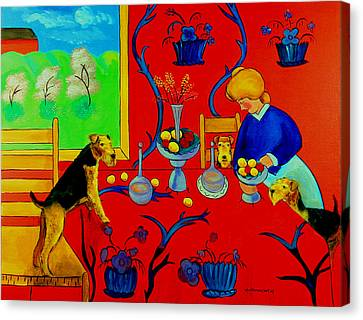 Harmony In Red Kitchen With Airedales After Matisse Canvas Print by Lyn Cook