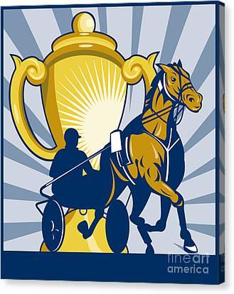 Harness Cart Horse Racing Canvas Print by Aloysius Patrimonio
