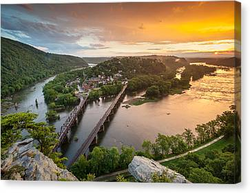 Harpers Ferry National Historical Park Maryland Heights Sunset Canvas Print by Mark VanDyke