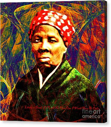 Harriet Tubman Underground Railroad In Abstract 20160422 Square With Text Canvas Print by Wingsdomain Art and Photography