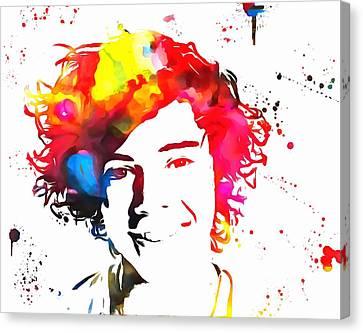Harry Styles Paint Splatter Canvas Print by Dan Sproul