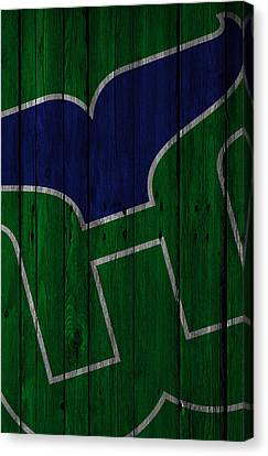 Hartford Whalers Wood Fence Canvas Print by Joe Hamilton