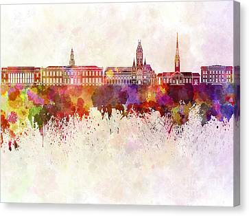 Harvard Skyline In Watercolor Background Canvas Print by Pablo Romero