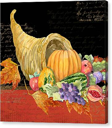 Harvest Cornucopia Of Blessings - Pumpkin Pomegranate Grapes Apples Canvas Print by Audrey Jeanne Roberts