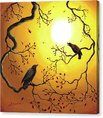 Harvest Crows Canvas Print by Laura Iverson
