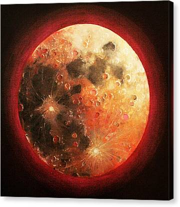 Harvest Full Moon Canvas Print by Shelley Irish