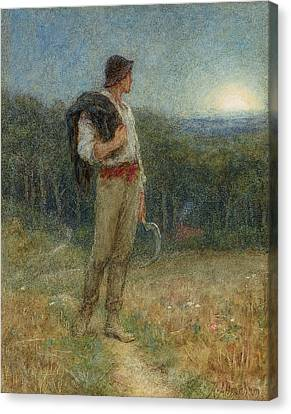 Harvest Moon Canvas Print by Helen Allingham