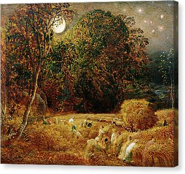 Harvest Moon Canvas Print by Samuel Palmer