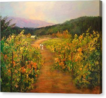 Harvest Walk Canvas Print by Sally Seago