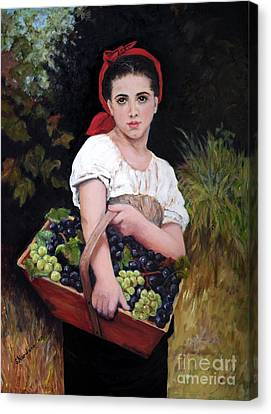 Harvesting The Grapes Canvas Print by Sandra Nardone