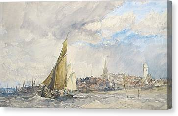 Harwich From The Sea Canvas Print by Charles Bentley