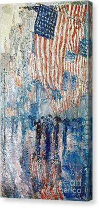 Hassam Avenue In The Rain Canvas Print by Granger