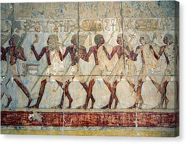 Hatshepsut Temple Parade Of Soldiers Canvas Print by Aivar Mikko
