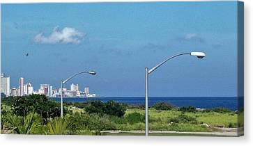 Havana's Skyline By The Sea Canvas Print by Esther Pedraza