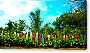 Hawaii Surfboard Fence Photograph  Canvas Print by Michael Ledray