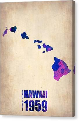 Hawaii Watercolor Map Canvas Print by Naxart Studio
