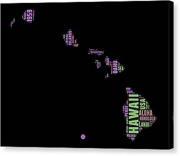 Hawaii Word Cloud 1 Canvas Print by Naxart Studio