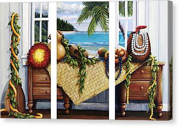 Hawaiian Still Life With Haleiwa On My Mind Canvas Print by Sandra Blazel - Printscapes