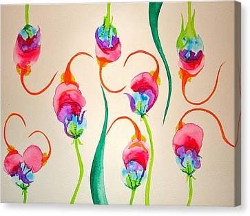 Hawaiian Warrior Upside-down Flowers Canvas Print by Erika Swartzkopf