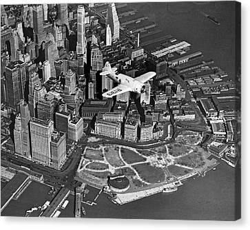 Hawk's Plane Over Battery Park Canvas Print by Underwood Archives