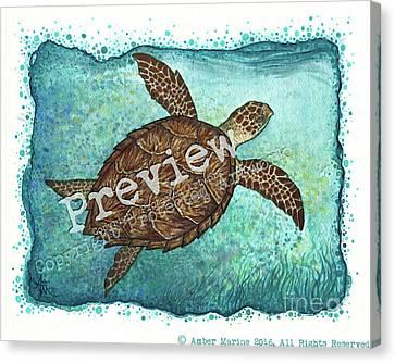 Hawksbill Sea Turtle Canvas Print by Amber Marine