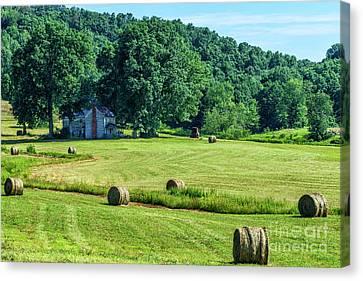 Hay Bales And Farm House Canvas Print by Thomas R Fletcher