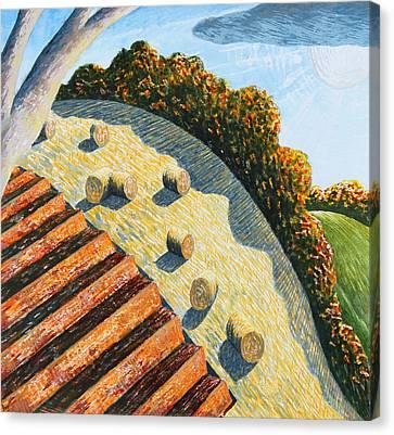Hay Bales And Hillside Canvas Print by Adrian Jones