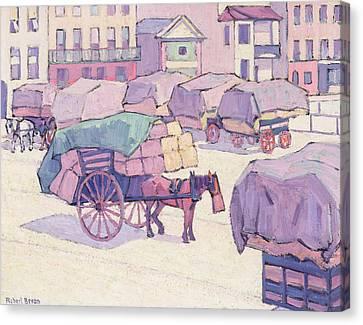 Hay Carts - Cumberland Market Canvas Print by Robert Polhill Bevan