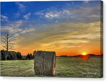 Hay Down Sunset Canvas Print by Reid Callaway