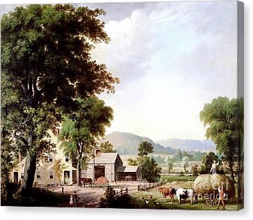 Haying At Jones Inn, 1854 Canvas Print by George Durrie