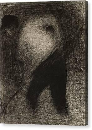 Haymaker Or Stone Breaker Canvas Print by Georges Pierre Seurat