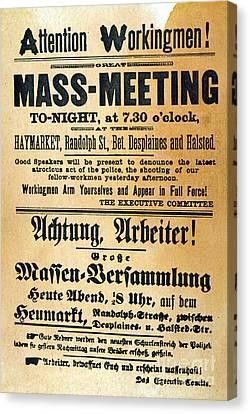 Haymarket Handbill, 1886 Canvas Print by Granger