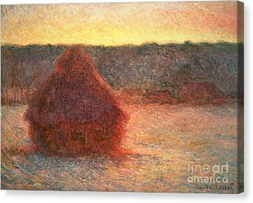 Haystacks At Sunset Canvas Print by Claude Monet