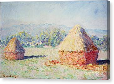 Haystacks In The Sun Canvas Print by Claude Monet