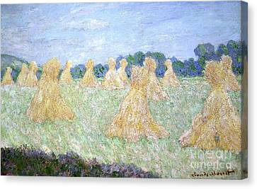 Haystacks The Young Ladies Of Giverny Sun Effect Canvas Print by Claude Monet