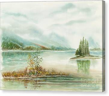 Hazy On The Lake Canvas Print by Samuel Showman