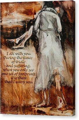 I Am With You - Footprints Canvas Print by Jani Freimann