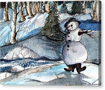 He Was Made Of Snow But The Children Know Canvas Print by Mindy Newman