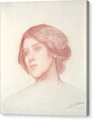 Head Of A Girl Canvas Print by John William Waterhouse