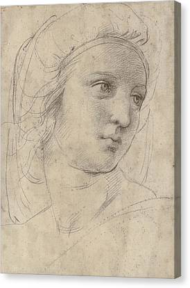 Head Of A Muse Canvas Print by Raphael