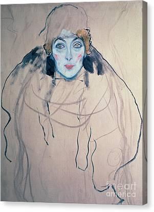 Head Of A Woman Canvas Print by Gustav Klimt