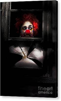 Head Of Clown In Dark Window Canvas Print by Jorgo Photography - Wall Art Gallery