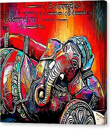 Head Of Hindu God Ganesha - My Www Vikinek-art.com Canvas Print by Viktor Lebeda