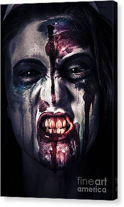 Head Shot On A Pure Evil Zombie Girl Canvas Print by Jorgo Photography - Wall Art Gallery
