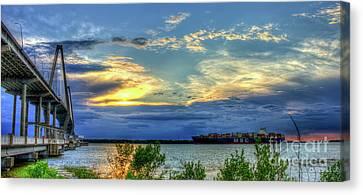 Headed Out To Sea The Arthur Ravenel Jr Bridge  Charleston Harbor South Carolina Canvas Print by Reid Callaway