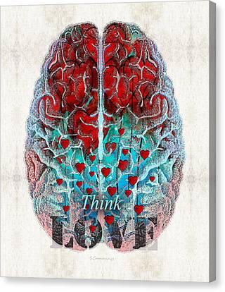 Heart Art - Think Love - By Sharon Cummings Canvas Print by Sharon Cummings