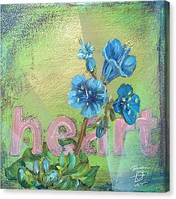 Heart Blue Wildflower Canvas Print by Andrea LaHue