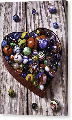 Heart Box With Marbles Canvas Print by Garry Gay